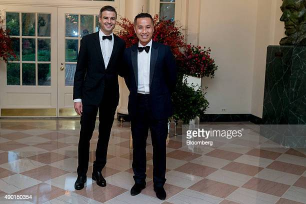 Fashion designer Phillip Lim right and Paul Hearing arrive at a state dinner in honor of Chinese President Xi Jinping at the White House in...