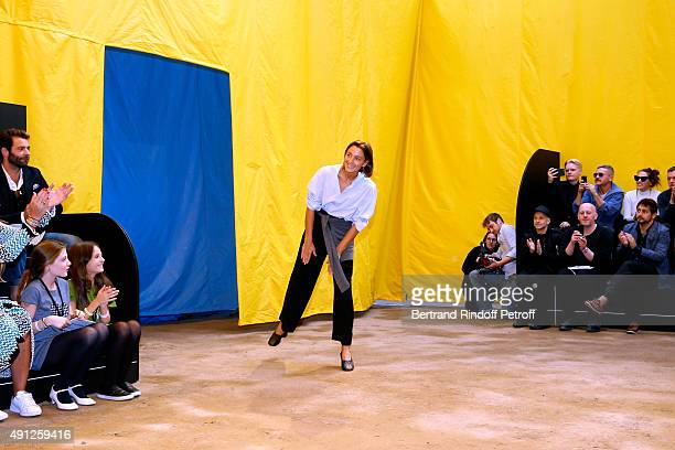Fashion Designer Phoebe Philo acknowledges the applause of the audience at the end of the Celine show as part of the Paris Fashion Week Womenswear...