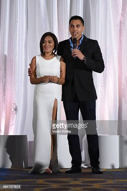 Fashion designer Pia Gladys Perey and basketball player Shawn Weinstein at the Pia Gladys Perey Spring/Summer 2016 Fashion Show at Sofitel Hotel on...