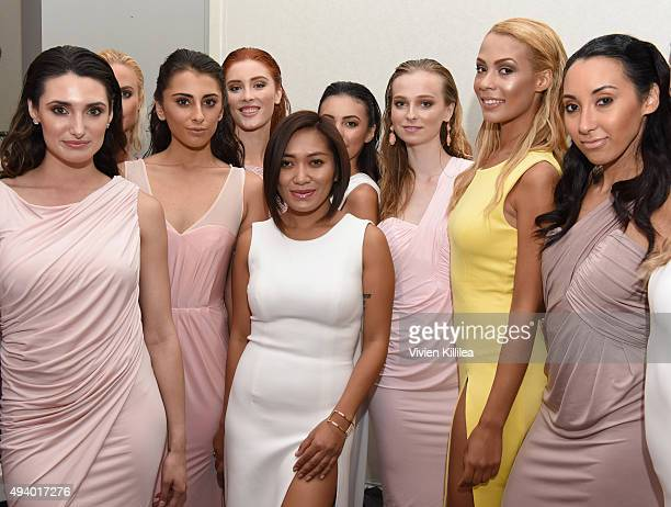 Fashion designer Pia Gladys Perey and models backstage at the Pia Gladys Perey Spring/Summer 2016 Fashion Show at Sofitel Hotel on October 23 2015 in...