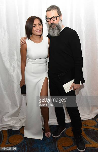 Fashion designer Pia Gladys Perey and publicist Rick Krusky attend the Pia Gladys Perey Spring/Summer 2016 Fashion Show at Sofitel Hotel on October...