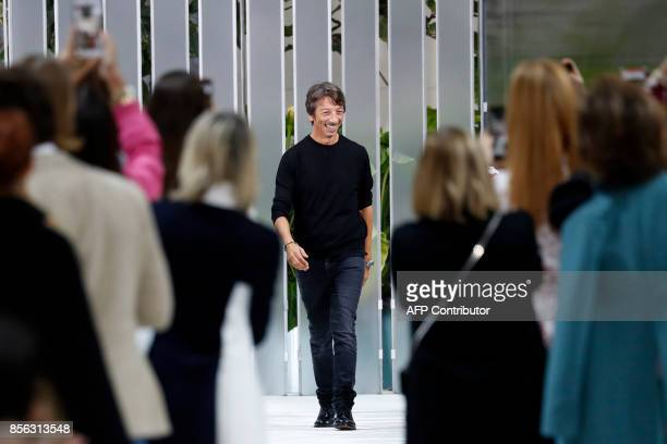 Fashion designer Pier Paolo Picciolo for Valentino acknowledges the audience at the end of the women's 2018 Spring/Summer readytowear collection...