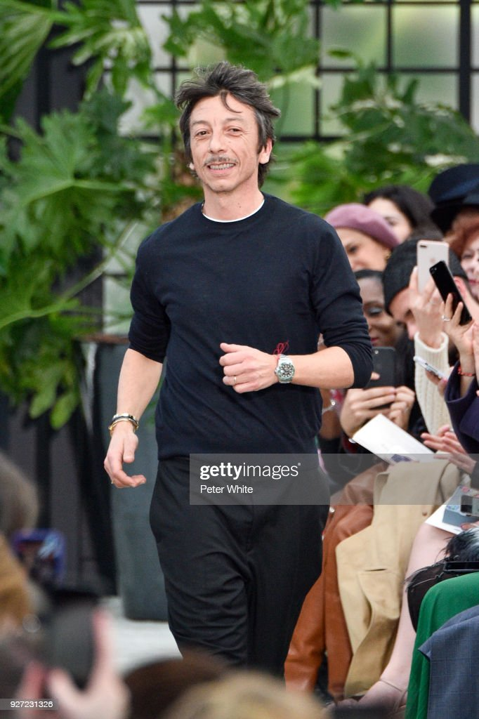 Fashion designer Pierpaolo Piccioli walk the runway after the Valentino show as part of the Paris Fashion Week Womenswear Fall/Winter 2018/2019 on March 4, 2018 in Paris, France.