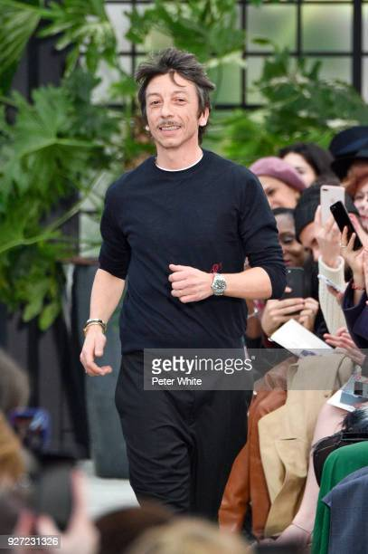 Fashion designer Pierpaolo Piccioli walk the runway after the Valentino show as part of the Paris Fashion Week Womenswear Fall/Winter 2018/2019 on...