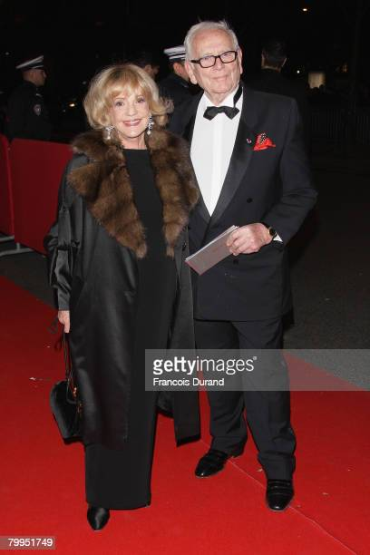 Fashion designer Pierre Cardin and actress Jeanne Moreau arrives at Cesar Film Awards 2008 at Theatre du Chatelet on February 22, 2008 in Paris,...