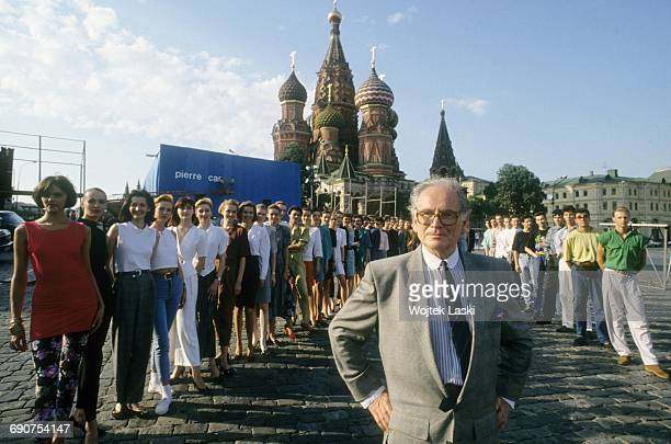 Fashion designer Pierre Cardin and models at the Red Square in Moscow Russia in 1991