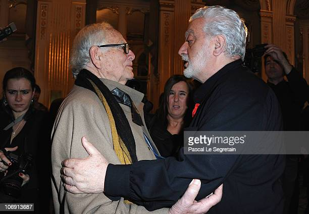 Fashion designer Pierre Cardin greets Paco Rabanne after he received the Legion of Honor at Ministere de la Culture on November 16 2010 in Paris...