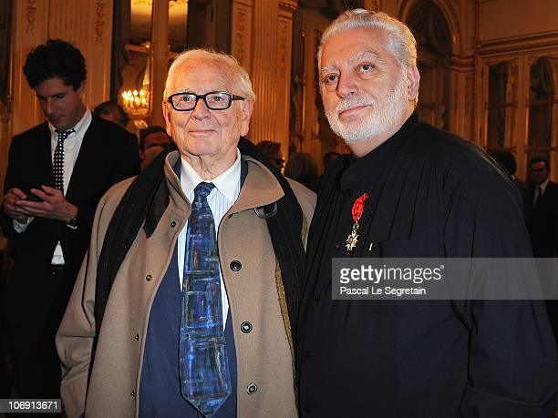 Fashion designer Pierre Cardin poses with Paco Rabanne after he received the Legion of Honor at Ministere de la Culture on November 16 2010 in Paris...