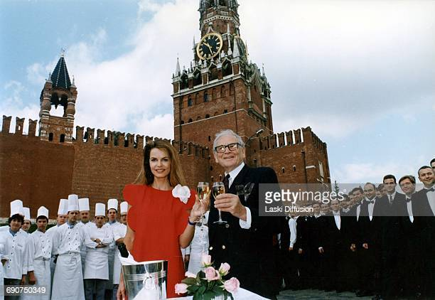 Fashion designer Pierre Cardin with actress Cyrielle Clair and 300 other guests celebrates the opening of his restaurant 'Maxim's' in Moscow Red...