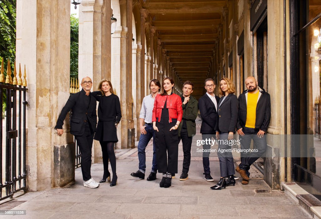 Fashion designer Pierre Hardy, beauty editor Laurence Hovart, visual artist Damien Blottière, actress Amira Casar, artistic director of Paco Rabanne Julien Dossena, writer Pierre Vens, journalist and host Alexandra Golovanoff and artist director Michael Amzalag are photographed for Madame Figaro on June 23, 2016 in Paris, France. PUBLISHED IMAGE.