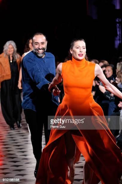 Fashion Designer Rabih Kayrouz and Ballet dancer MarieAgnes Gillot walks the runway during the Maison Rabih Kayrouz Spring Summer 2018 show as part...