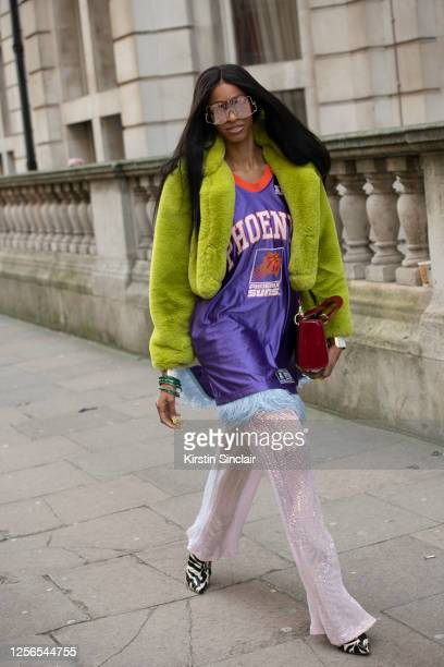 Fashion designer Rachael Broussard wears all R Michel'le The Label during London Fashion Week February 2020 on February 18 2020 in London England