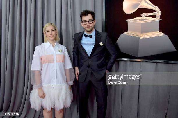 Fashion designer Rachel Antonoff and recording artist Jack Antonoff attend the 60th Annual GRAMMY Awards at Madison Square Garden on January 28 2018...
