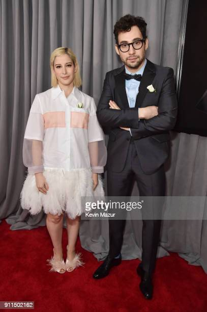 Fashion designer Rachel Antonoff and recording artist Jack Antonoff white rose detail attend the 60th Annual GRAMMY Awards at Madison Square Garden...