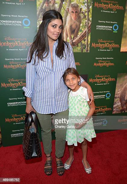 Fashion designer Rachel Roy and daughter Tallulah Dash attend the world premiere Of Disney's Monkey Kingdom at Pacific Theatres at The Grove on April...