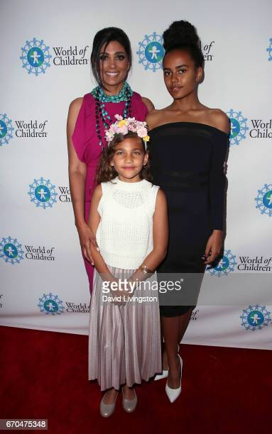 Fashion designer Rachel Roy and daughters Tallulah Ruth Dash and Ava Dash attend the 2017 World of Children Hero Awards at Montage Beverly Hills on...