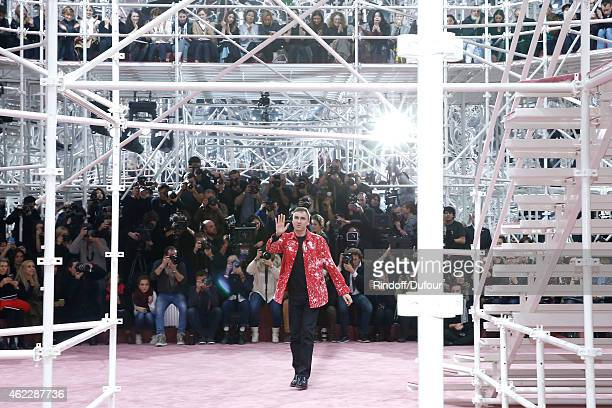 Fashion Designer Raf Simons acknowledges the applause of the audience at the end of at the end of the Christian Dior show as part of Paris Fashion...