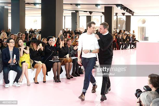 Fashion Designer Raf Simons acknowledges the applause of the audience at the end of the Christian Dior show as part of the Paris Fashion Week...