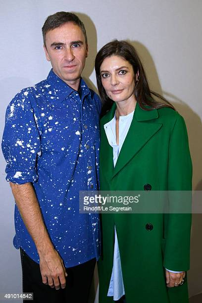 Fashion Designer Raf Simons and Actress Chiara Mastroianni pose Backstage after the Christian Dior show as part of the Paris Fashion Week Womenswear...