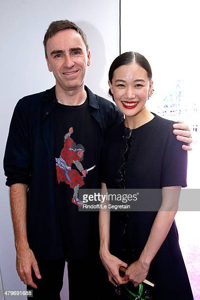 Fashion Designer Raf Simons and Actress Yu Aoi pose backstage after the Christian Dior show as part of Paris Fashion Week HauteCouture Fall/Winter...