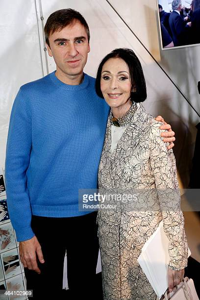 Fashion Designer Raf Simons and former model Kouka backstage after the Christian Dior show as part of Paris Fashion Week Haute Couture Spring/Summer...