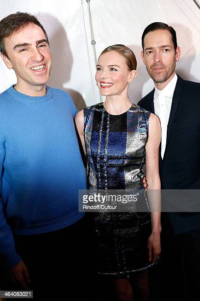 Fashion Designer Raf Simons and Kate Bosworth with her director husband Michael Polish backstage after the Christian Dior show as part of Paris...