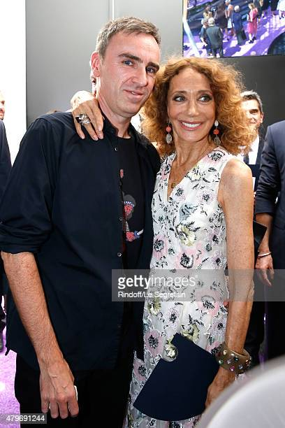 Fashion Designer Raf Simons and Marisa Berenson pose backstage after the Christian Dior show as part of Paris Fashion Week HauteCouture Fall/Winter...