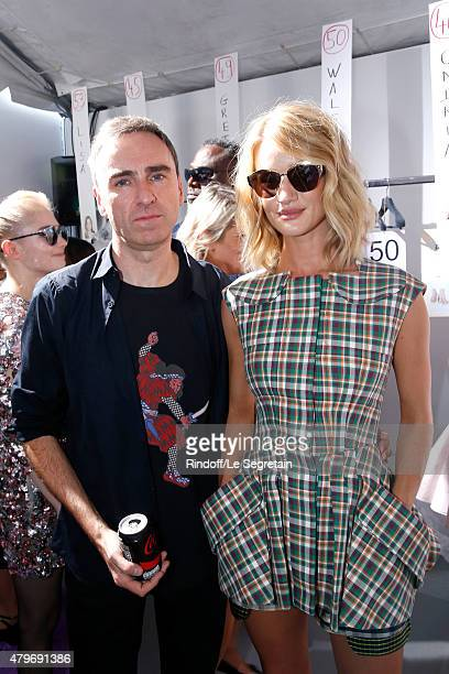 Fashion Designer Raf Simons and Model Rosie HuntingtonWhiteley pose Backstage after the Christian Dior show as part of Paris Fashion Week Haute...