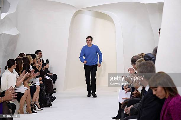 Fashion designer Raf Simons walks the runway at the Christian Dior Spring Summer 2014 fashion show during Paris Haute Couture Fashion Week on January...