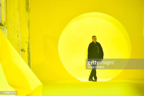 Fashion designer Raf Simons walks the runway during the Raf Simons Menswear Fall/Winter 2020-2021 show as part of Paris Fashion Week on January 15,...