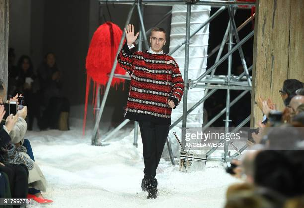 Fashion Designer Raf Simons walks the runway for Calvin Klein 205W39NYC during New York Fashion Week at the American Stock Exchange Building on...