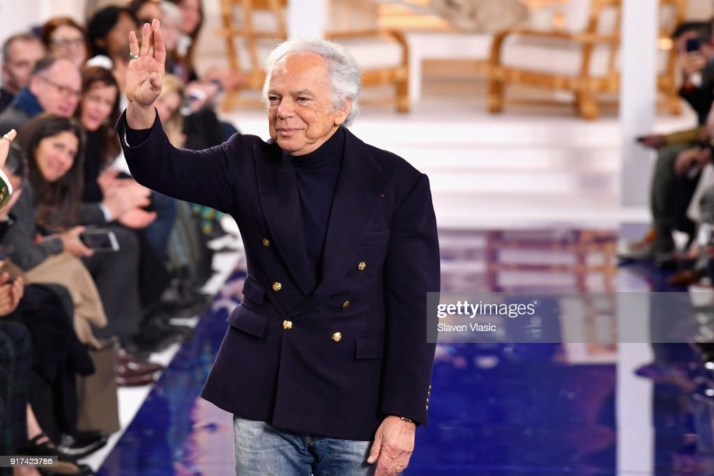 Fashion Designer Ralph Lauren takes a bow on the runway for Ralph Lauren during New York Fashion Week: The Shows at on February 12, 2018 in New York City.