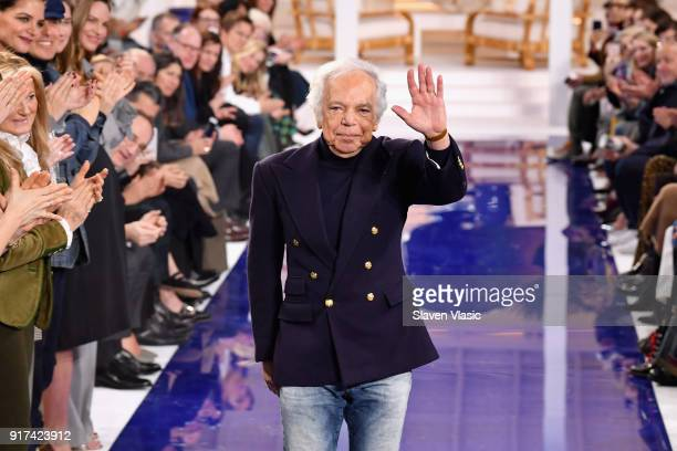 Fashion Designer Ralph Lauren takes a bow on the runway for Ralph Lauren during New York Fashion Week: The Shows at on February 12, 2018 in New York...