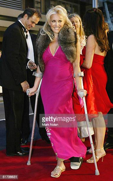Fashion designer Rebecca Davies arrives at the David Jones Launch Party at Elizabeth Street on November 13 2004 in Sydney Australia