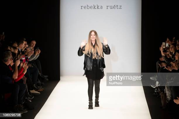 Fashion designer Rebekka Ruetz acknowledges the applause of the audience at the end of her Fashion Show during Mercedes Benz Fashion Week Berlin...