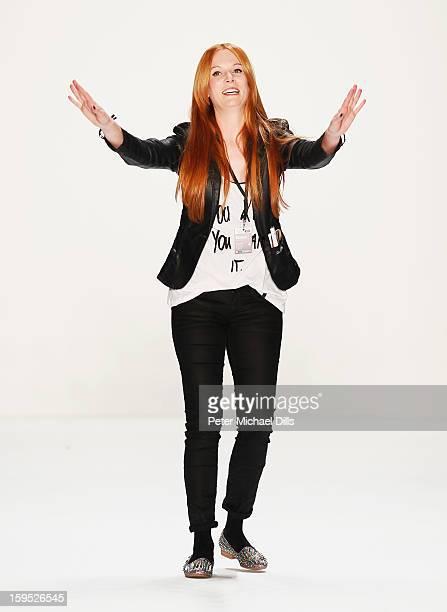 Fashion designer Rebekka Ruetz on the runway after her Autumn/Winter 2013/14 fashion show during MercedesBenz Fashion Week Berlin at Brandenburg Gate...