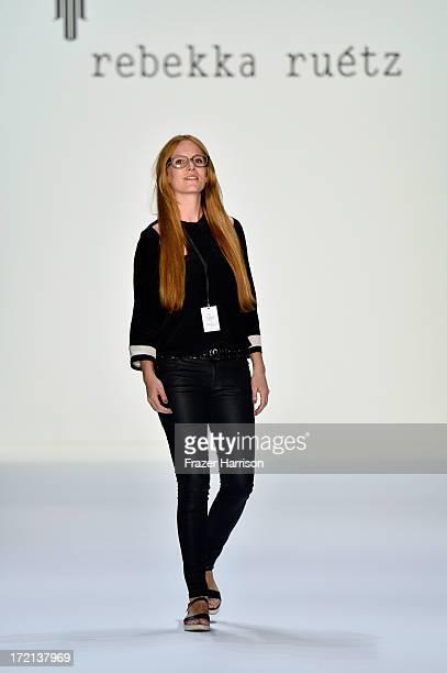 Fashion designer Rebekka Ruetz on the runway after her show during MercedesBenz Fashion Week Spring/Summer 2014 at Brandenburg Gate on July 2 2013 in...