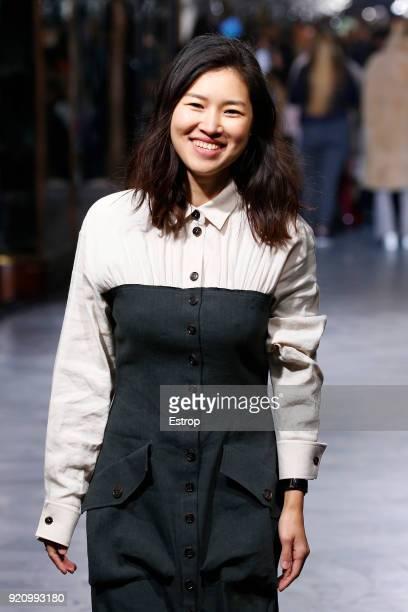 Fashion designer Rejina Pyo at the REJINA PYO show during London Fashion Week February 2018 at 6 Burlington Gardens on February 18 2018 in London...