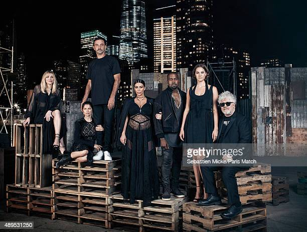 Fashion designer Riccardo Tisci is photographed with Courtney Love Laetitia Casta Kim Kardashian Kayne West Emma Ferrer and Pedro Almodovar for Paris...