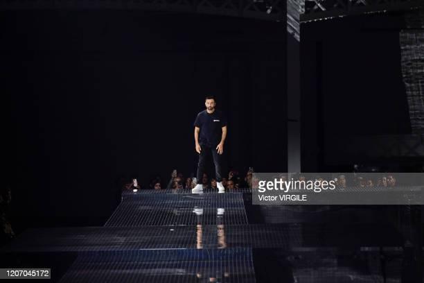 Fashion designer Riccardo Tisci walks the runway at the Burberry Ready to Wear Fall/Winter 2020-2021 fashion show during London Fashion Week on...