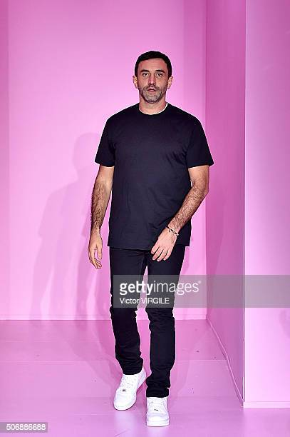 Fashion designer Riccardo Tisci walks the runway during the Givenchy Menswear Fall/Winter 20162017 show as part of Paris Fashion Week on January 22...