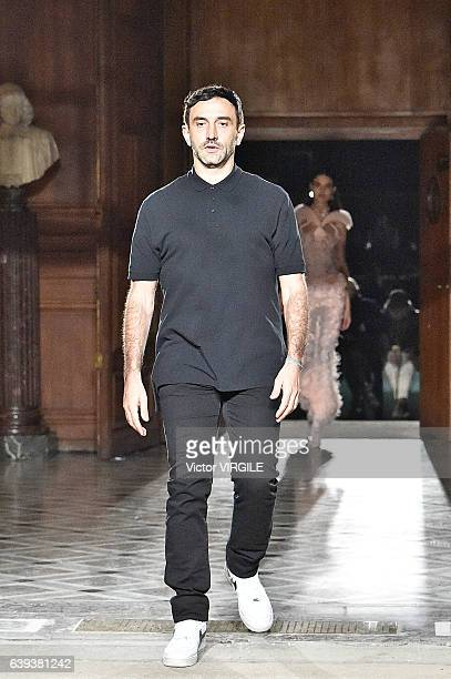 Fashion designer Riccardo Tisci walks the runway during the Givenchy Menswear Fall/Winter 20172018 show as part of Paris Fashion Week on January 20...