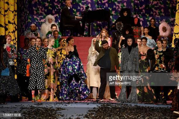 Fashion designer Richard Quinn walks the runway at his show during London Fashion Week February 2020 on February 15, 2020 in London, England.