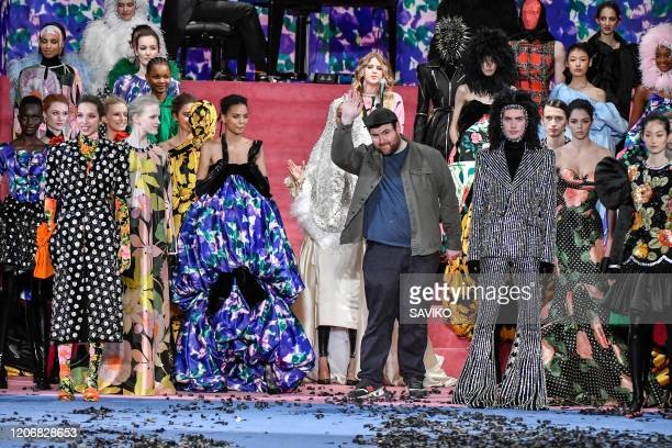 Fashion designer Richard Quinn walks the runway at the Richard Quinn Ready to Wear Fall/Winter 2020-2021 fashion show during London Fashion Week on...