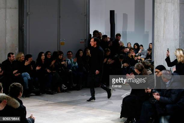 FAshion designer Rick Owens during the Rick Owens show as part of the Paris Fashion Week Womenswear Fall/Winter 2018/2019 on February 28 2018 in...
