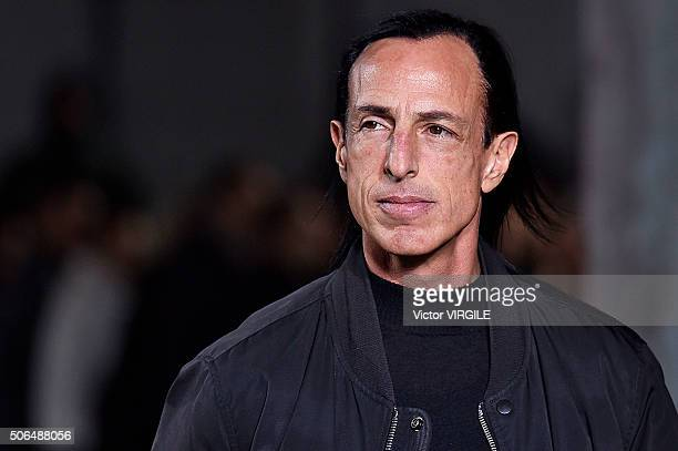 Fashion designer Rick Owens walks the runway during the Rick Owens Menswear Fall/Winter 20162017 show as part of Paris Fashion Week on January 21...