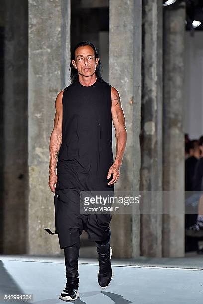 Fashion designer Rick Owens walks the runway during the Rick Owens Menswear Spring/Summer 2017 show as part of Paris Fashion Week on June 23 2016 in...