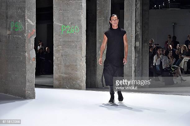 Fashion designer Rick Owens walks the runway during the Rick Owens Ready to Wear fashion show as part of Paris Fashion Week Womenswear Spring/Summer...