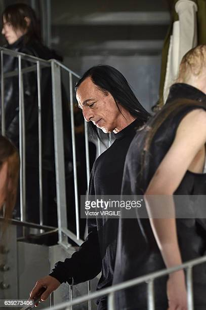Fashion designer Rick Owens walks the runway during the Rick Owens Menswear Fall/Winter 20172018 show as part of Paris Fashion Week on January 19...