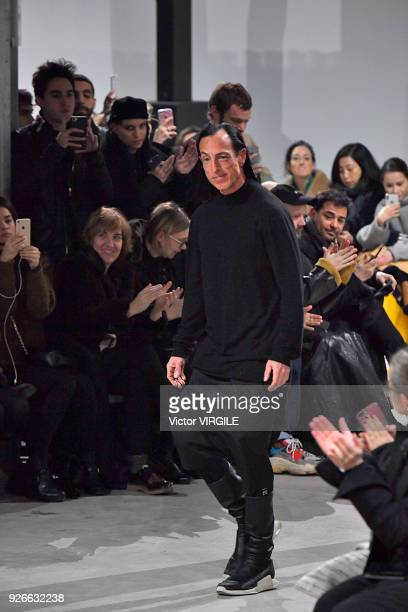 Fashion designer Rick Owens walks the runway during the Rick Owens Ready to Wear Fall/Winter fashion show as part of the Paris Fashion Week...